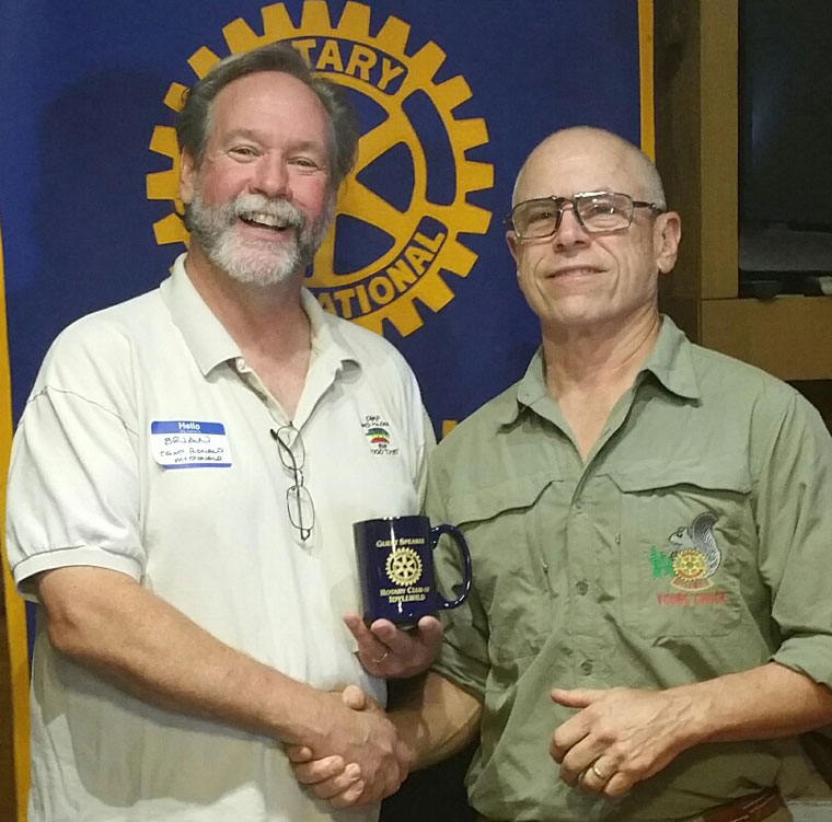 The speaker Wednesday, Aug. 19, at Idyllwild Rotary Club was Associate Executive Director Brian Crater (left) from the local Camp Ronald McDonald for Good Times. Brian, shown here with Rotary President Chuck Weisbart, explained the details of how this camp brings life-changing experiences to children afflicted with cancer and other catastrophic diseases. Photos courtesy Rotary Club