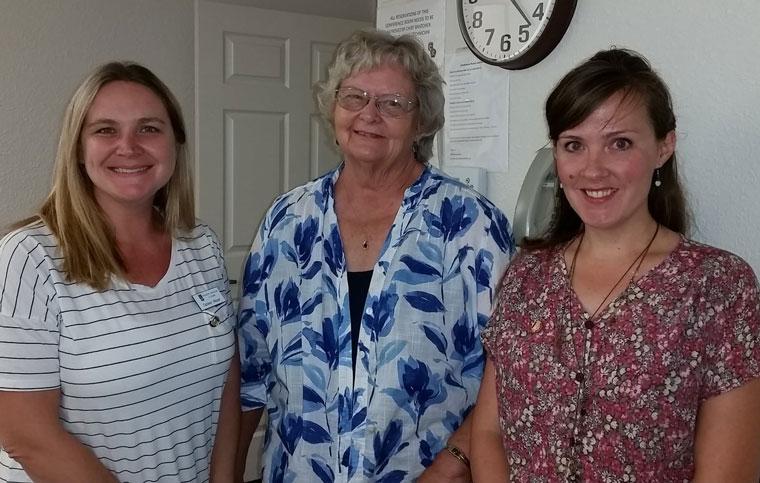 Soroptimist International of Idyllwild's new member induction was held Wednesday, Aug. 5. From left, Colleen Meyer, new member, Karen Doshier, president, and Halie Wilson, new member. Photo by Mary Morse