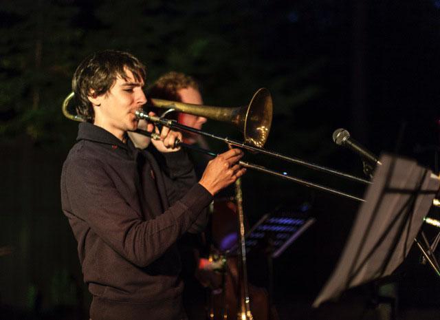 Friday at Ferro Stephen Szabadi, trombonist, performing with a jazz band at Ferro Friday evening. Photo by Peter Szabadi