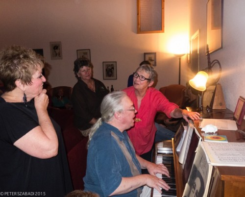 From left, Barbara Rayliss, Barb Reese, Barnaby Finch and Michèle Marsh at the Idyllwild Actors Theatre appreciation event for supporters and volunteers, held at Peter Szabadi's house last Wednesday. Photo by Peter Szabadi