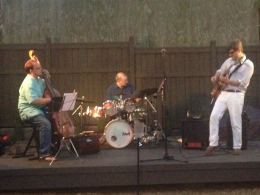 From left, Bill Saitta on bass, Dave Hitchings on drums and Peter Curtis on guitar performing at Ferro last Friday night. Photo by Jack Clark