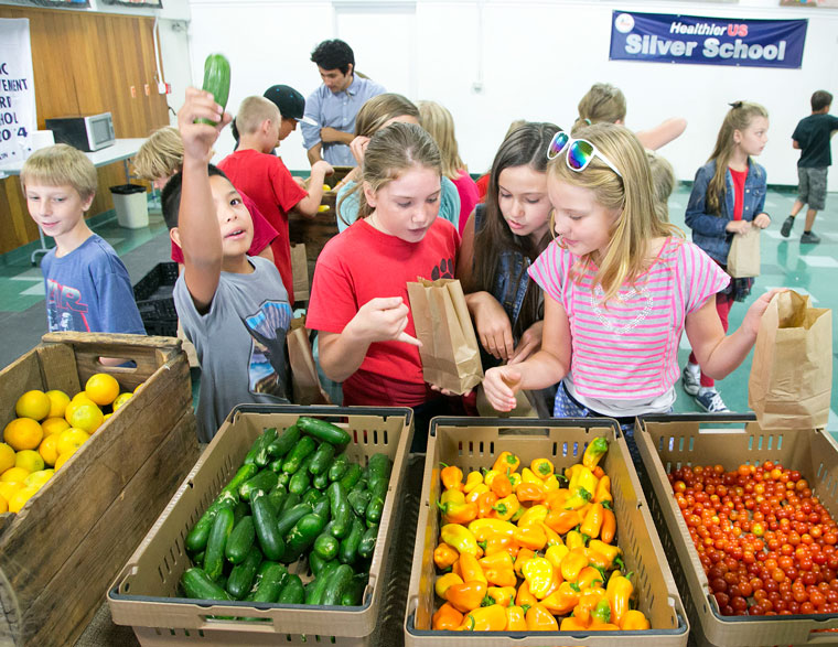 """Students at Idyllwild School learned about the benefits and """"super powers"""" of fruits and vegetables from Farmer Kaito Friday morning, Sept 4, at Idyllwild School. Here, fifth and sixth graders pick out what fruits and vegetables they want after learning all about them from Farmer Kaito. Photos by Jenny Kirchner"""