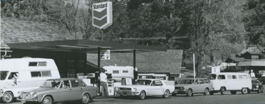No sooner did weekend visitors arrive in February 1974 than may of them filled their tanks again. Unlike many Southland areas at the time, Idyllwild did not run out of gas, despite the holiday influx of traffic for Valentine's Day. File photo