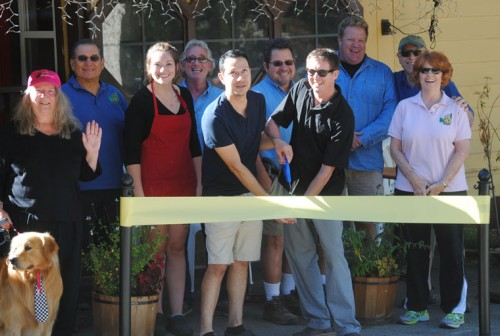 Town Baker ribbon cutting The Idyllwild Rotary provided the scissors for the ribbon cutting at The Town Baker Monday morning. Holding the scissors are owners Ken Urias and Paul Amick with salesperson Victoria Knecht to the left. Rotarians, from left, are Mayor Max, his Chief of Staff Phyllis Mueller, Steve Espinoza, Craig Coopersmith, John Graham, Christopher Scott, Chuck Weisbart and Dawn Miller. Photo by JP Crumrine