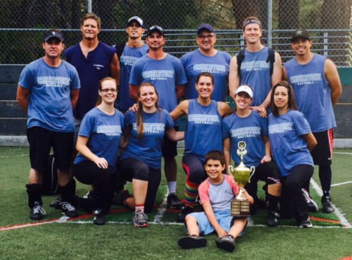 Creekstone Inn captured the 2015 Idyllwild Adult Softball championship last week. They defeated Pacific Slope in two games, 8-1 and 11-8. Members of the championship team are (back row, from left) Chris Cochrane, Jeff Sherman, Jason Sonnier, Jesse Wilkerson, Charlie Branscum, Josh White and Mark Collis. Kneeling in the middle row are (from left) Kelly Cochrane, Cara Wilkerson, Dawn Sonnier, Emily White and Jessica Priefer. Sitting in the front with the trophy is Colby Sonnier. Members unable to be in the photo are Brennen Priefer and Kristin Collis. Photo courtesy Dawn Sonnier