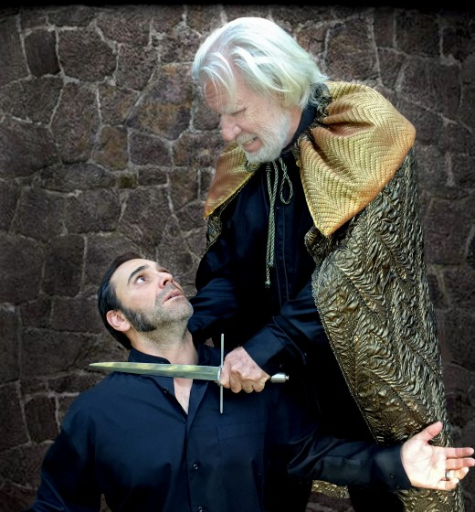 """Allen Purchis (right) as Henry II, King of England, with John Wesley Leon as his son Richard (the Lion Hearted) in Stratford Players' upcoming production of """"The Lion in Winter"""" by James Goldman."""
