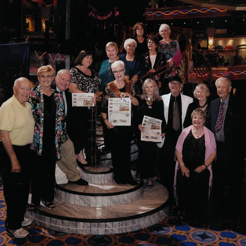 A group of Forest Folk took the Town Crier on the Carnival (Imagination) Cruise to Catalina and Ensenada Sept. 13 to 17. Back row, from left, Janeille Herman and Reba Coulter; second row, from top, Carole Herman, Pat Ruffner and Patricia Runions; front row, from left, Tony Weldon, Sheila Weldon, Brent Miller, Yvonne Smith, Sandi Mathers, Audrey Brown, John Brown, Elaine Weiler and Mel Goldfarb; and seated, Dottie Goldfarb. Photo courtesy Forest Folk