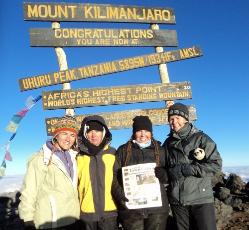 From left, Shannon Young, Michaele Layng, Meghan Carey, of Idyllwild, and Geneva Pagliai hiked Mt Kilimanjaro recently with the Town Crier. This is Africa's highest point and the world's highest free-standing mountain. There are seven established routes to take and they choose the Lemosho route, hiking for seven days.