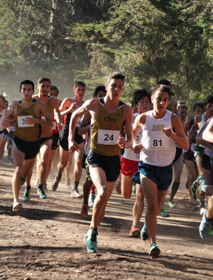 Jayden Emerson (no. 24)running in the San Francisco State Invitational meet last weekend. Photo by Jessica Priefer