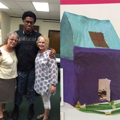 "Sister Judith Brun (left), Jamal (last name withheld) and Idyllwild resident Karla Leopold (right) are reunited in 2015. In 2005, then 9-year-old Jamal constructed his ""ant house"" as part of his art therapy when Leopold and team were in Baton Rouge working with young Katrina survivors. The hole in the roof was how his family escaped rising water. The ant was there because Jamal felt, like the ant, he would be stepped on. Photo courtesy of Karla Leopold"