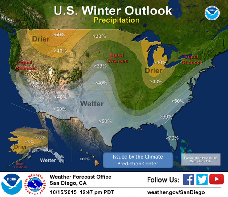 The latest National Weather Service map indicating the precipitation forecast for December through February. Map courtesy of the National Weather Service