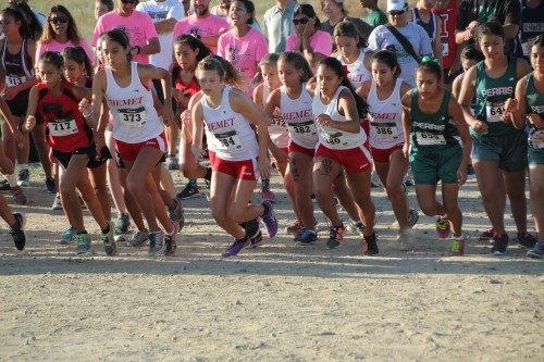 The Hemet High School freshmen and sophomore girls cross-country team gets ready for the start of the 2016 Bulldog Invitational, Saturday, Sept. 26. Photos by Jessica Priefer
