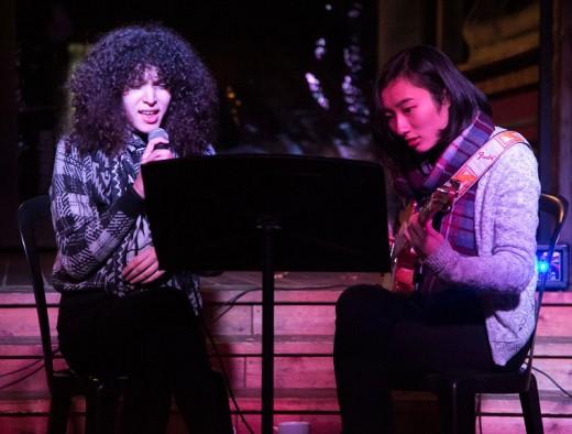 Students from the Idyllwild Arts Academy, Zema Bagirova and Sumi Onoe, playing jazz, entertained patrons at Cafe Aroma Monday night, Nov. 9. Photo by Jenny Kirchner