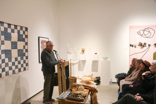 Jim Bassler, a textile artist, spoke to students, faculty and the public about craft art in America Friday, Nov. 6. Accompanying Bassler was Carol Sauvion, the executive director of Craft in America, the current exhibit at the Parks Exhibition Center on the Idyllwild Arts campus. Photo by Cheryl Basye