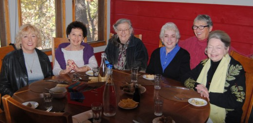 The Idyllwild Francophones group celebrated its 10th anniversary last Thursday at Café Aroma. At the luncheon were (from left) Monique Zander, Colette Simon, François Frigola, Marcia Krull, Michèle Marsh and Bronwyn Jones. Photo by JP Crumrine