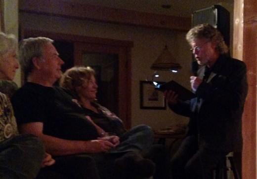 """Poet and performer Mick Lynch paired with Blood Sweat & Tears founding member Dick Halligan on piano in Lynch's """"Radio Tales."""" The performance took place at a private residence for an invited audience as a preview of what Lynch and Halligan plan to market more widely.Photo courtesy of Mick Lynch"""