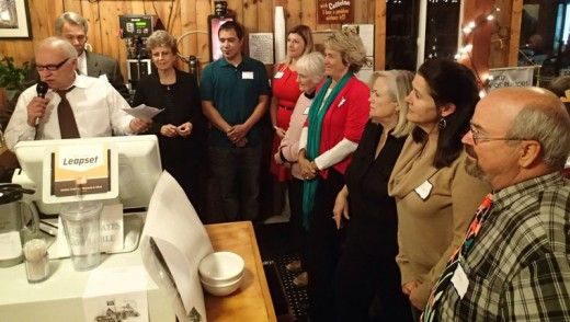 The Idyllwild Association of Realtors held its annual dinner Thursday, Nov. 12, at the Mountain Center Café. The 2016 IAOR Board of Directors was sworn in during the event. Joe McNabb acted as master of ceremonies, while outgoing board president Chris Davis (second from left) welcomed and swore in the new board: from left, Director Trischa Clark, Vice President Johnny Wilson, President Amber Booth, Treasurer Marge Muir, Director Dora Dillman, Director Jackie Kretsinger, Director Shelly McKay and Director Steve Taylor.Photo by Halie Wilson