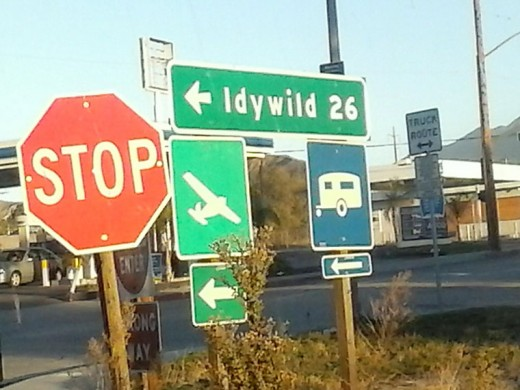 Trinity Kellner snapped this shot of the sign coming off the Interstate 10 ramp at Hargrave in Banning recently. Idyllwild is hard to spell for many off-Hill people, even Caltrans workers. Photo by Trinity Kellner