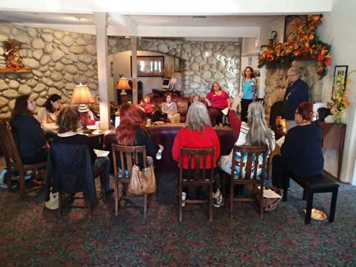 Members of Soroptimist International of Idyllwild talk about the nonprofit's charity work during an informational meeting for prospective members on Wednesday, Nov. 18 at the Creekstone Inn. Photo by Halie Wilson