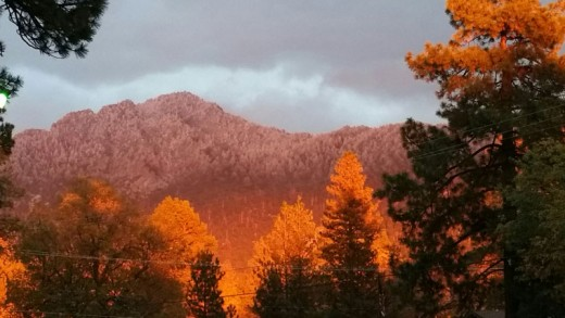"""Linda Allen captured this photograph of an Idyllwild fall sunset Wednesday, Nov. 4. """"In 35 years, I have never seen a sunset like this,"""" she said. Photo by Linda Allen"""
