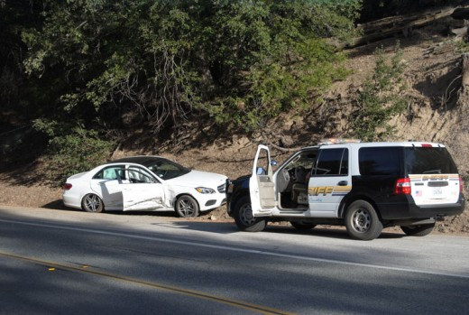 A Mercedes Benz, traveling towards Mountain Center, tried to pass a second vehicle just before the intersection with Saunders Meadow Road. Upon seeing a third vehicle in the other lane, the Mercedes tried to swerve into a pull-over on the left side of the road, narrowly avoiding a head-on collision with a pick-up truck. Photo by JP Crumrine