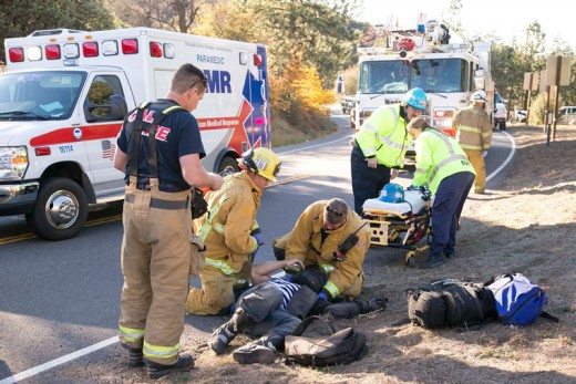 Christopher Jones, 30, of Wildomar, crashed his blue 2007 Suzuki GSX R 600 around 3 p.m. Saturday. Jones was traveling westbound on Highway 74 east of Highway 243 when he lost control and skidded off the highway. He suffered a fractured left arm and left ankle, according to California Highway Patrol Officer Mike Murawski. Jones had no recollection of the incident, and American Medical Response transported him to a local hospital for further evaluation. CHP, Riverside County Fire, AMR and Idyllwild Fire all responded to the incident. Photo by Jenny Kirchner