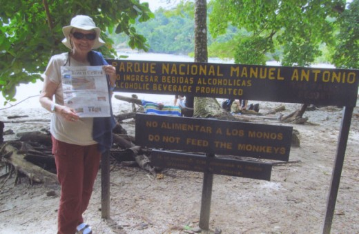 The Town Crier is shown off to the many capuchins, coati and an occasional iguana at Costa Rica's famous beach park by Elaine Hoggan of Pine Cove. Photo by gerhard grinnell