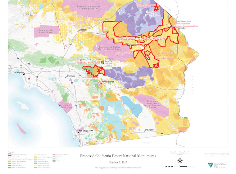 Sen. Dianne Feinstein (D-Cal) has proposed three new desert national monuments. Map courtesy Sen. Feinstein's office