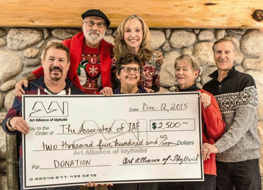 Associates of Idyllwild Arts received $2,500. Front row, from left, Michael Slocum (president), Pam Goldwasser (vice president), Linda Anderson (secretary) and Dave Robb (AAI representative). Back row, from left, Terry Casella (treasurer) and Anne Erikson (past president). Photo by Barry Zander