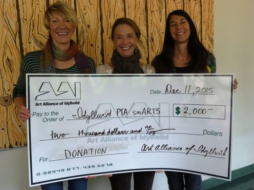 Idyllwild PTA smARTS program received $2,000. Leaders and volunteers of the local arts program at Idyllwild School, are, from left, Ginger Dagnall, Christine Hunt and Catherine Smith.