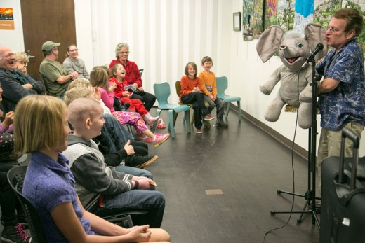 Ventriloquist John Gandelman performed at the Idyllwild Library Saturday. With him were many different puppets, including his favorite elephant, who shot water at the audience, bringing everyone to laughs. Photo by Jenny Kirchner