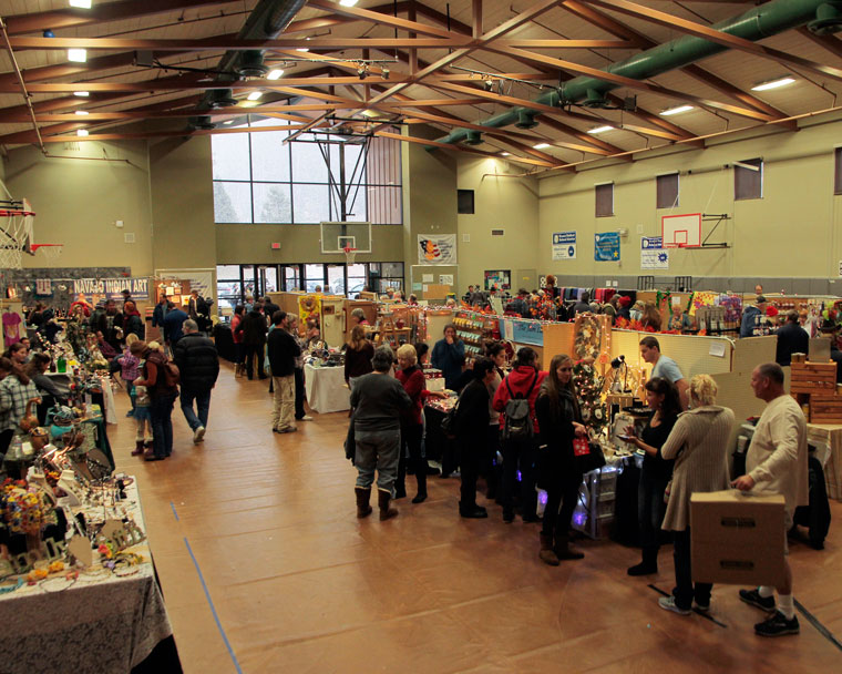 Despite early snow flurries Friday and a new venue at Idyllwild School because of Town Hall's closing, the annual Rotary Club's Harvest Festival still drew crowds. Photo by John Drake