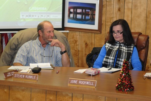 Steve Kunkle and June Rockwell attend their first Idyllwild Water District meeting as members of the Board of Directors. Photo by JP Crumrine