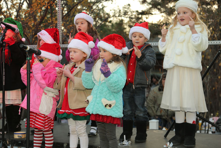 The Idyllwild Children's Choir entertained another large crowd before the Christmas Tree was lit Saturday evening.