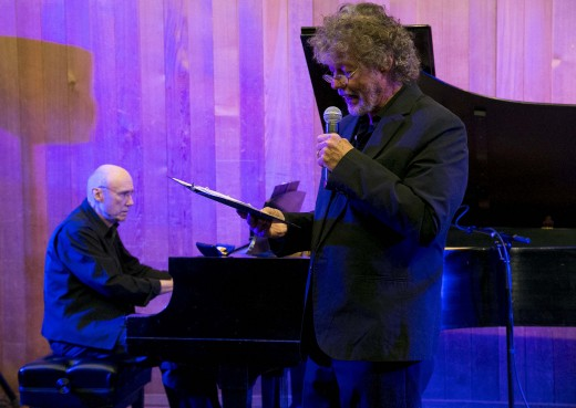 """ICONIC SOUNDS Richard Halligan (left) on piano and Mick Lynch perform """"Radio Tales,"""" a combination of spoken word and piano, Saturday at Idyllwild Arts. Photo by Jenny Kirchner"""