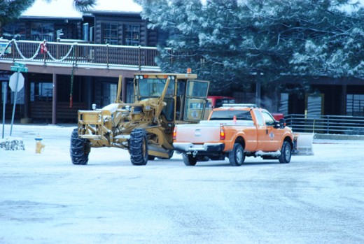 Caltrans and Riverside County's Department of Transportation were out Monday night and early Tuesday morning clearing the highway and streets in advance of the morning traffic and anticipated visitors.