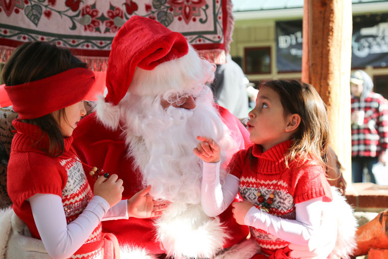 """Santa Claus talks about Christmas with the many children who attended Idyllwild's Tree Lighting Ceremony, """"An Olde Fashioned Christmas."""" Photos by Cheryl Basye"""