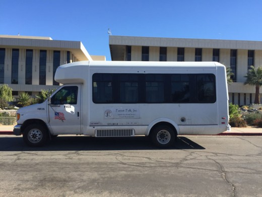 The Forest Folk free public shuttle seen here Tuesday, Dec. 15, in front of Eisenhower Medical Center in Rancho Mirage, on one of its Tuesday trips to the desert for Idyllwild/Pine Cove residents' necessary appointments — in this case for a doctor's appointment. Photo by Patricia Saly