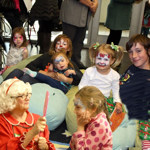 Mrs. Claus arrived at the Idyllwild Library Monday in time for Christmas Storytime, where more than 20 youngsters and 30 adults greeted her. Lots of activities filled the day, but for Briar Scott, getting her face painted by Mrs. Claus was the highlight. The event is sponsored by the Friends of the Idyllwild Library as part of the weekly storytime series. Photo collage by Barry Zander