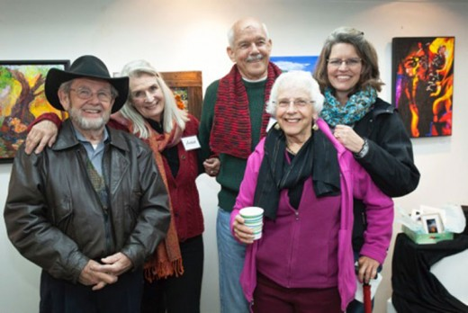 The Art Alliance of Idyllwild opened its Pop Up Gallery in Village Lane Saturday with a joyous reception. Some of the attendees, from left, are Gary Glasheen (artist), Erin O'Neill (AAI vice president for membership), artists Patrick Barry and Julie Koppel, and Shanna Robb (AAI president). Photo by Peter Szabadi