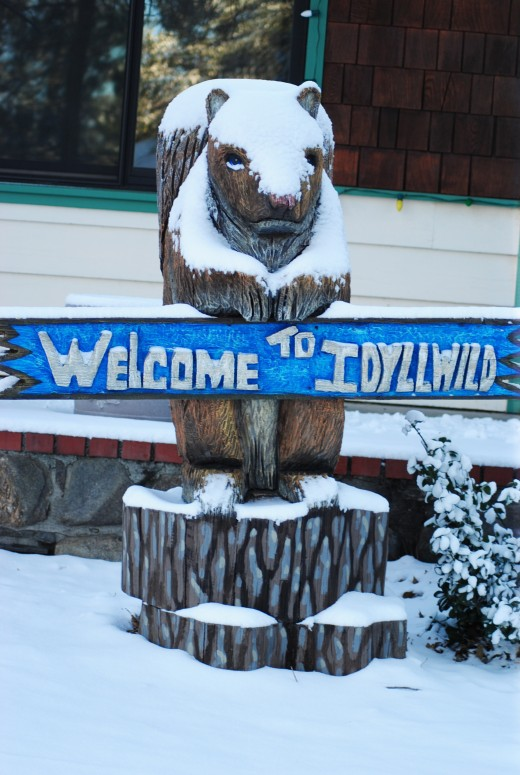 the squirrel outside the Idyllwild Inn was up early welcoming the winter snow to Idyllwild Tuesday morning. Photos by JP Crumrine