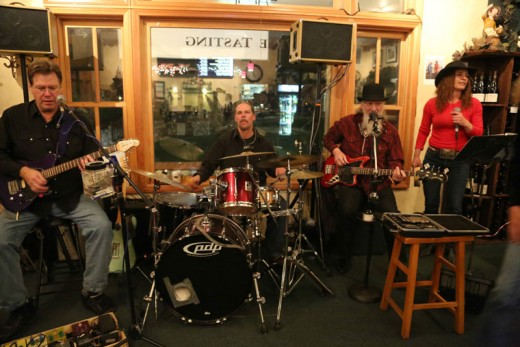 Spin Cycle performed at Idyll Awhile Wine Shoppe & Bistro last weekend. From right, members of the group are Vince Day, guitar; Steve Zacardi, drums; HoJo Reynolds, guitar; and Tamar Tweedie, vocalist.Photo by Cheryl Basye