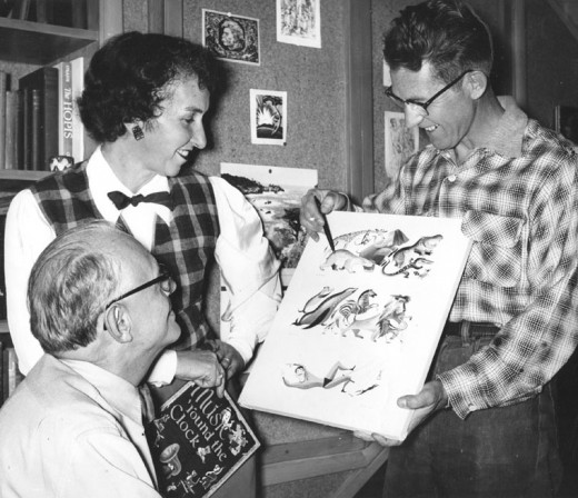 Max (sitting) and Bee Krone conferring with local artist Val Samuelson (right) on designing one of her books.Photo courtesy of Idyllwild Area Historic Society