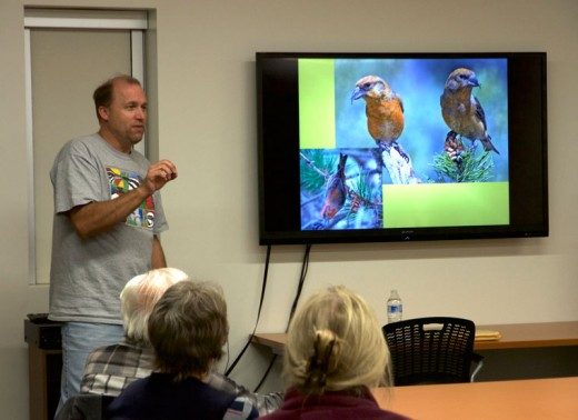 Kurt Leuschner, professor of natural resources at College of the Desert in Palm Desert, shows local birders some of what is to be found along the Palms to Pines Birding and Nature Trail at his talk Tuesday, Jan. 19, at the Idyllwild Library. Photo by John Drake