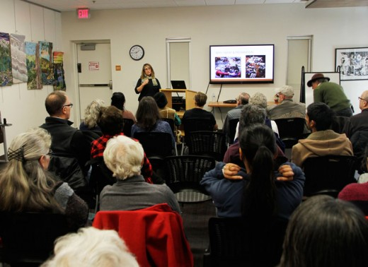 Mary Lehman speaks at the Idyllwild Library last Saturday about her experiences in Greece helping with the arriving Syrian refugees. Lehman used her prior medical training as an EMT to treat and help organize the efforts to save people arriving from Turkey to the Greek island of Lesbos.Photo by John Drake