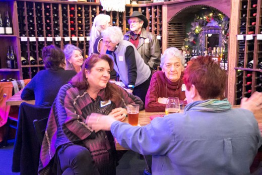 The Art Alliance of Idyllwild held its January Members Mingle at Idyll Awhile Wine Shoppe Bistro Tuesday night, Jan. 19. Live classical guitar music entertained the AAI members as they enjoyed chatting over a glass of wine. Photo by Jenny Kirchner