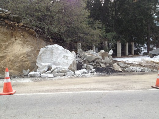 One week after a 40- to 50-ton boulder closed Highway 243 between Idyllwild and Pine Cove, this is what remains on the shoulder of the highway Tuesday morning. Photo by JP Crumrine