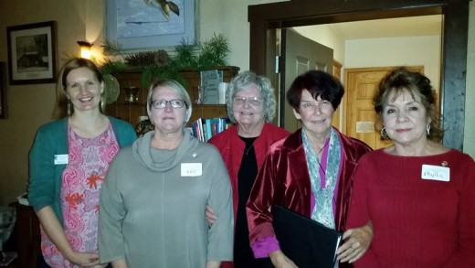 Three local ladies were inducted into the Soroptimist International of Idyllwild at its Christmas party at Silver Pines Lodge on Dec. 9. From left, are President-elect Theresa Teel, new member Kat Wilson, President Karen Doshier, new member Bonnie Keefe and new member Phyllis Murton. Photo by Mary Morse