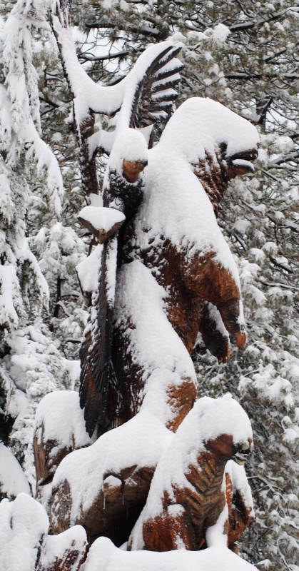 The tree monument was unflustered by snow