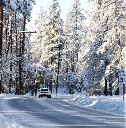 Highway 243 at the entrance to Idyllwild town.